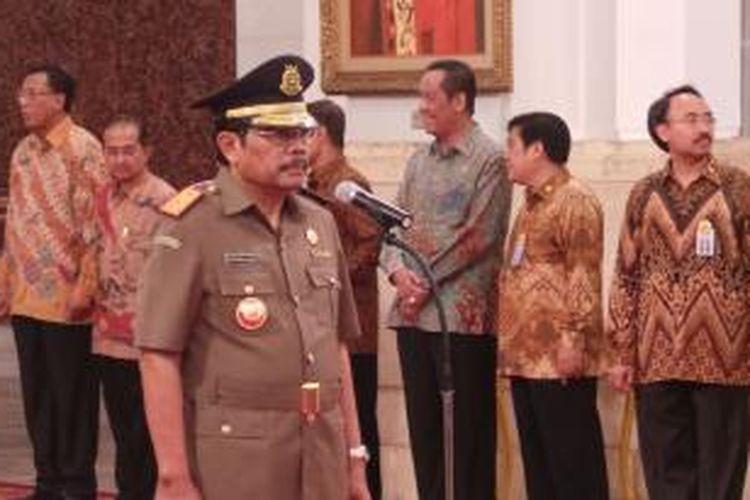 HM Prasetyo saat akan dilantik Presiden Joko Widodo di Istana Negara, Jakarta.