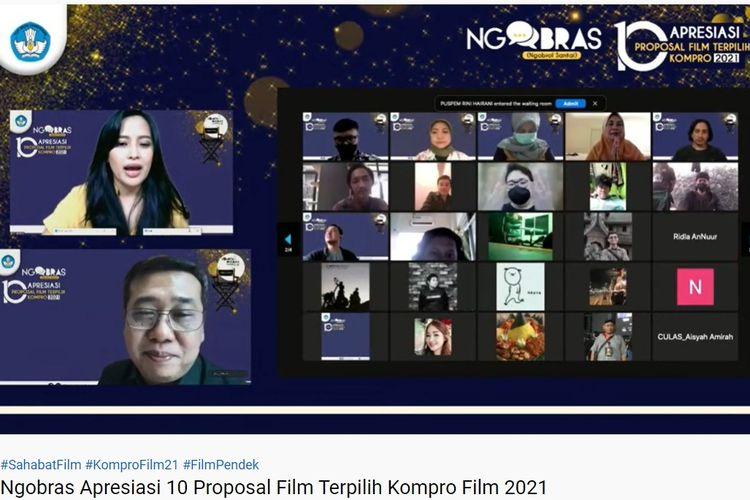 Ngobrol Santai (Ngobras) Apresiasi 10 Proposal Film oleh Kemendikbud Ristek yang digelar secara virtual, Rabu (15/9/2021).