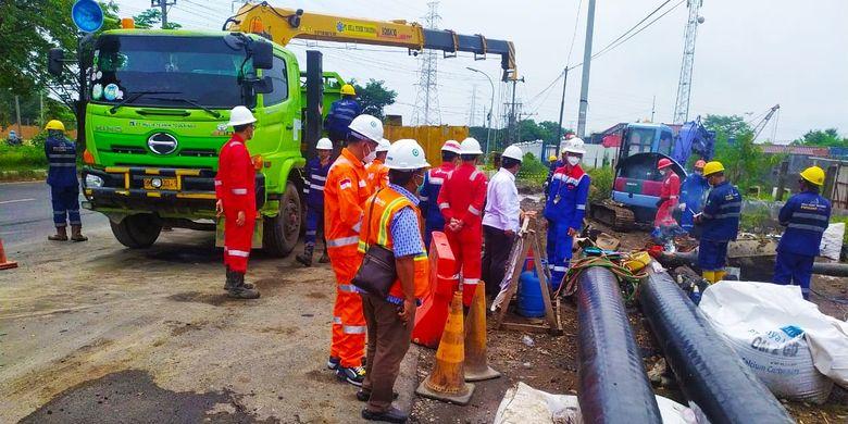 Dokumentasi penyelesaian proyek interkoneksi Interkoneksi Pipa Gresik-Semarang (Gersem) dengan Pipa Kalimantan-Jawa (Kalija) pada Rabu (7/4/2021).