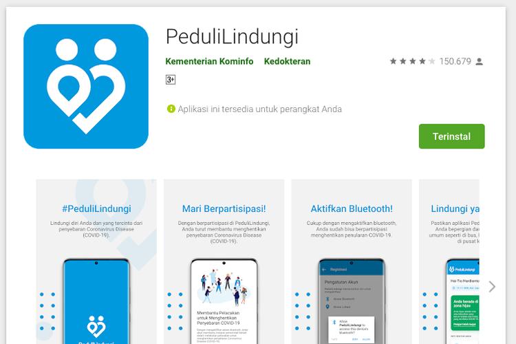 Aplikasi pedulilindungi yang dapat didownload di PlayStore untuk cek dan download sertifikat vaksin