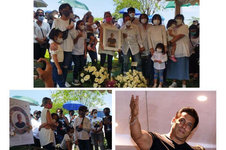 Kolase foto pemakaman dari suami Joanna Alexandra Raditya Oloan. Serta, foto Salman Khan