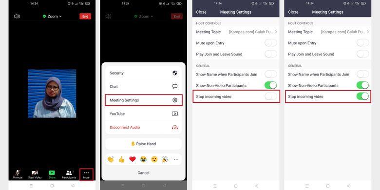 Cara blokir tampilan video peserta lain lewat aplikasi Zoom ponsel.