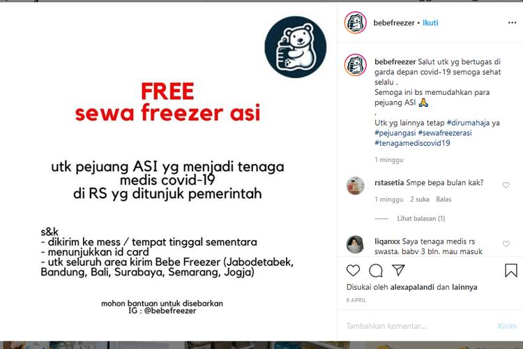 Pengusaha sewa freezer ASI menggratiskan biaya sewa untuk tenaga medis Covid-19 yang membutuhkan freezer ASI.