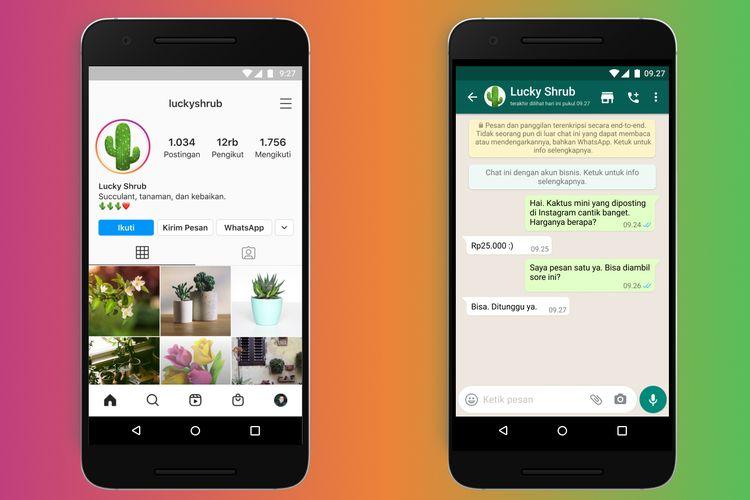 Ilustrasi fitur tautan antara akun bisnis Instagram dengan akun WhatsApp