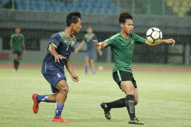 Laga Uji Coba Timnas U16 dengan Top Skor Indonesia di Stadion Patriot Candrabhaga, Senin (23/12/2019).