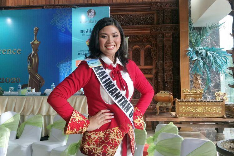 Rachel Eleeza Coloay finalis asal Kalimantan Utara dalam jumpa pers di Grand Sahid Hotel, Sudirman, Jakarta Selatan, Rabu (26/2/2020).