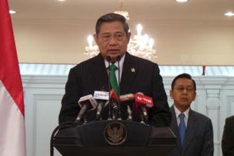 Presiden Susilo Bambang Yudhoyono saat jumpa pers di Halim Perdanakusuma