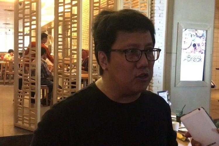 Komponis Erwin Gutawa saàt ditemui dalam sebuah diskusi di Cilandak Town Square, Jakarta Selatan, Senin (1/4/2019).