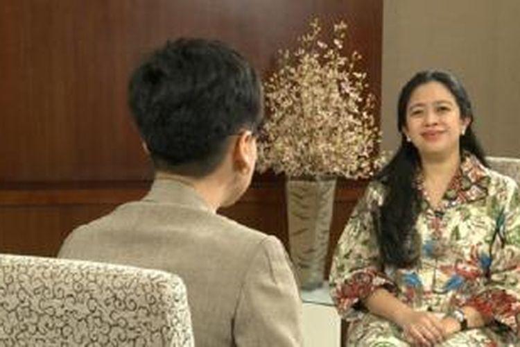 Puan Maharani saat diwawancarai Pemimpin Redaksi Kompas TV Rosiana Silalahi.