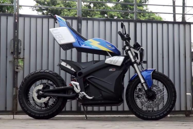 Motor listrik custom flat track futuristis karya Universitas Budi Luhur dan Katros Garage.