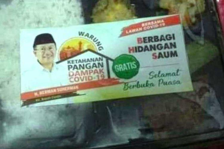 Nasi kotak berstiker plt Bupati Cianjur Herman Suherman yang menjadi sorotan publik mengingat Herman merupakan kandidat calon bupati pada Pilkada 2020.