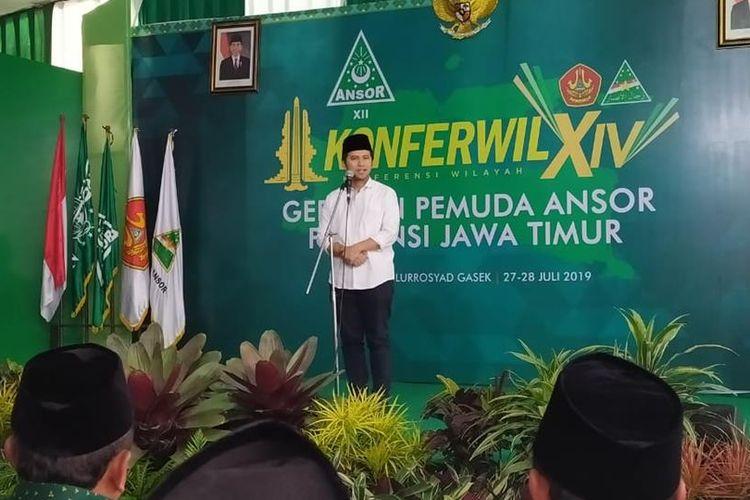 Wakil Gubernur Jawa Timur Emil Elistianto Dardak saat menghadiri Konferensi Wilayah GP Ansor Jawa Timur di Ponpes Sabilurrosyad Kota Malang, Minggu (28/7/2019)