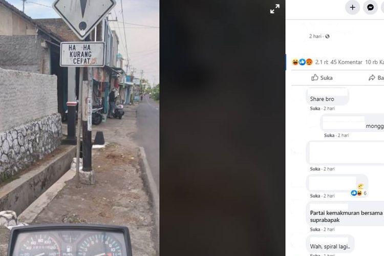Tangkapan layar foto yang menampilkan rambu lalu lintas bertuliskan Haha Kurang Cepat
