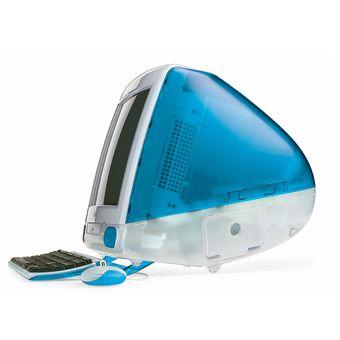 iMac original keluaran 1998, varian warna Blueberry