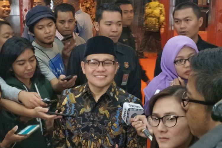 Ketua Umum Partai Kebangkitan Bangsa (PKB) Muhaimin Iskandar atau akrab disapa Cak Imin, saat ditemui di Kompleks Parlemen, Senayan, Jakarta, Kamis (12/7/2018).