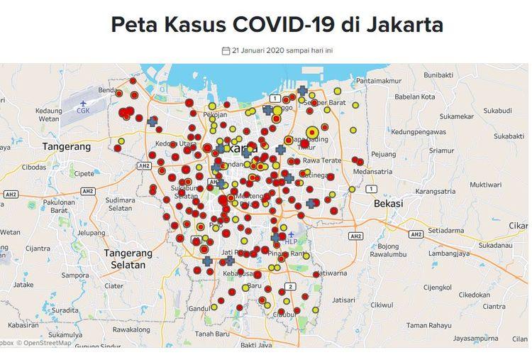 Peta persebaran pasien positif corona di Jakarta. Hingga Jumat (27/3/2020) sore, ada 566 pasien Covid-19 di ibu kota.