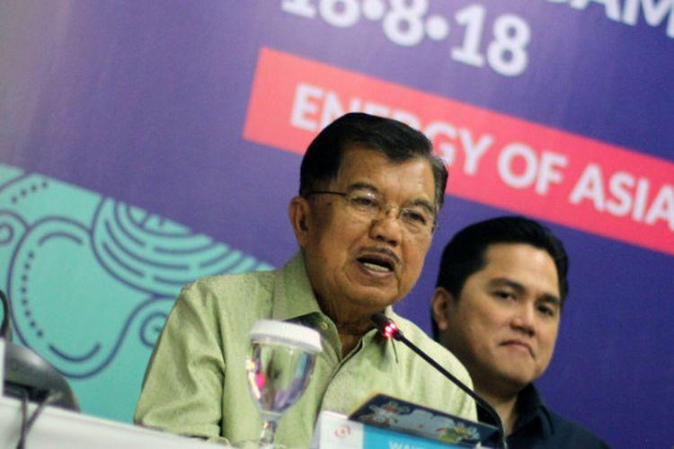 Wakil Presiden Jusuf Kalla, lega dengan pencapaian Inasgoc terkait sponsor untuk Asian Games 2018.