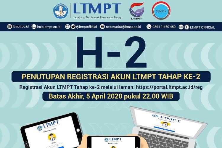 Informasi terbaru dari LTMPT terkait penutupan registrasi akun LTMPT tahap II.