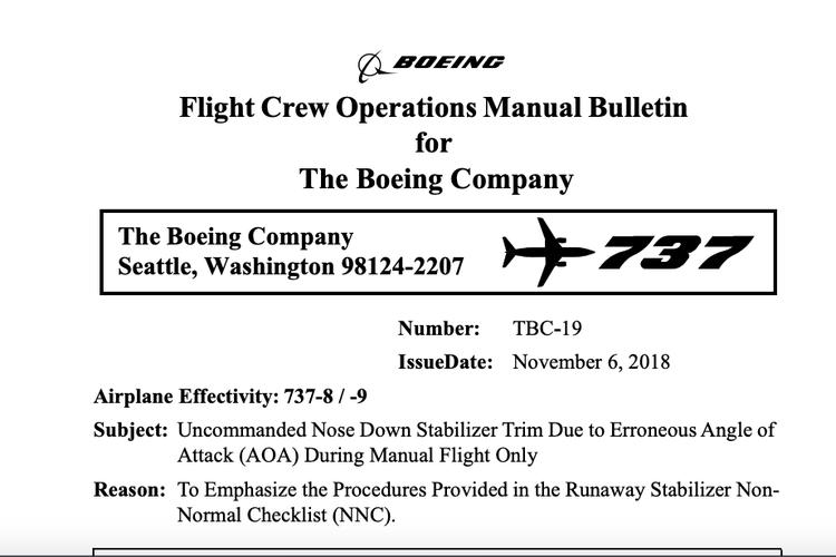 Buletin operasional manual yang dikeluarkan Boeing setelah Lion Air JT610 jatuh.