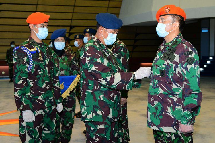 Kepala Staf Angkatan Udara (KSAU) Marsekal TNI Yuyu Sutisna meresmikan tiga satu baru di tubuh TNI Angkatan Udara (AU) yang berlangsung di Mabesau Cilangkap, Jakarta Timur, Rabu (22/4/2020).