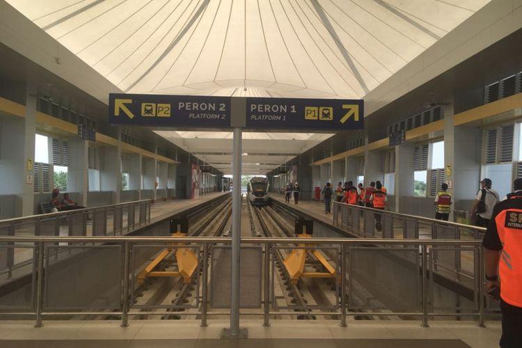 Stasiun Light Rail Transit (LRT) di Bandara Sultan Mahmud Badaruddin II.