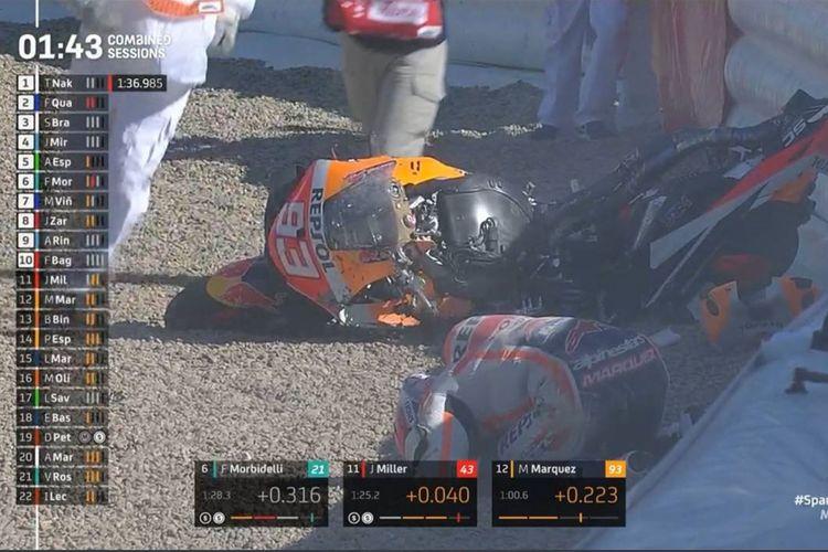 Pebalap Repsol Honda, Marc Marquez, mengalami kecelakaan besar pada sesi FP3 MotoGP Spanyol di Srikuit Jerez, Sabtu (1/5/2021) sore WIB.