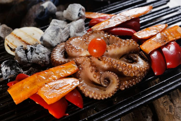 ilustrasi octopus grilled.