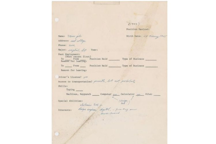 Surat lamaran pekerjaan pertama milik salah satu pendiri Apple, Steve Jobs