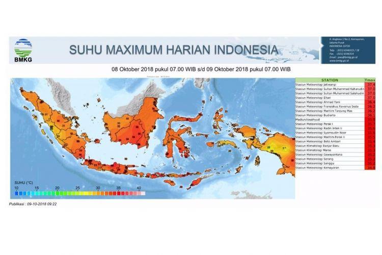 Suhu maksimum harian Indonesia pada Selasa (9/10/18) menurut pantauan BMKG.