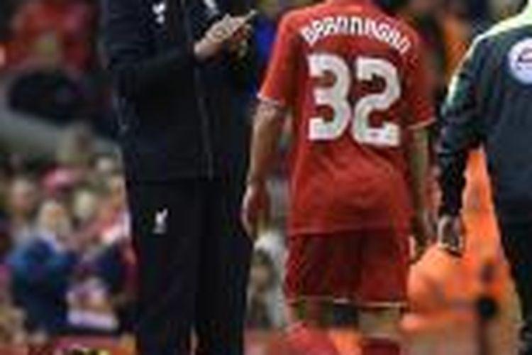 Juergen Klopp rayakan kemenangan pertama bersama Liverpool, Rabu (28/10/2015).