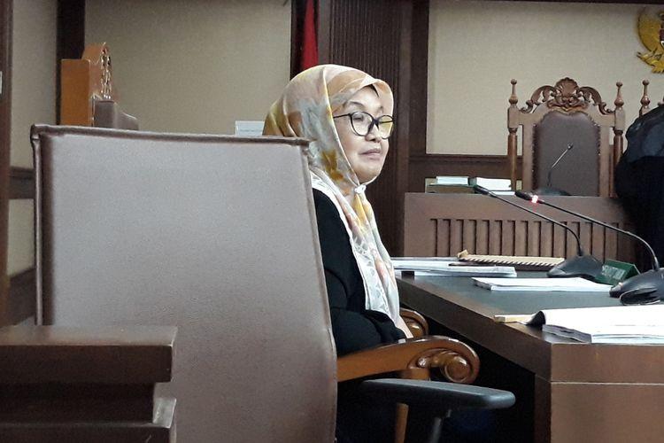 Mantan Menteri Kesehatan Siti Fadilah Supari di Pengadilan Tipikor Jakarta, Kamis (31/5/2018).