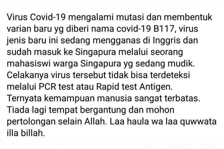 Status Facebook keliru mengenai varian baru virus corona B117 tidak bisa dideteksi tes PCR.