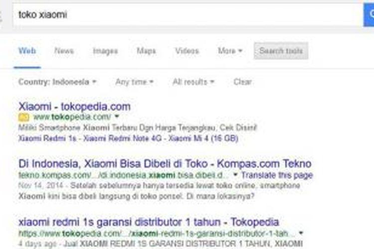 Mesin pencari tak hanya menampilkan hasil pencarian tetapi juga iklan dengan label