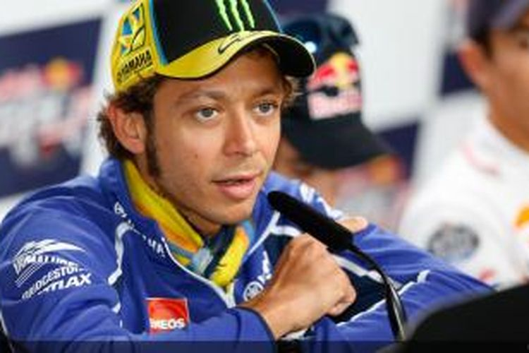 Pebalap asal Italia, Valentino Rossi, berbicara kepada media saat jumpa pers GP Indianapolis, Kamis (15/8/2013).