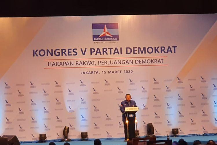 Ketua Umum (Ketum) Partai Demokrat Susilo Bambang Yudhoyono (SBY) berpidato di Kongres V Partai Demokrat 2020 di JCC Senayan, Jakarta, Minggu (14/3/2020).