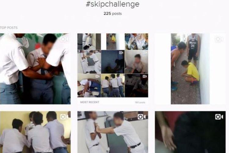 #SkipChallenge atau Skip Chalange, yaitu tantangan dengan cara menekan dada selama mungkin yang membuat peserta sampai mengalami pingsan. Video yang berisi tantangan ini sedang beredar di Instagram dan juga di Youtube, aksi seperti ini berbahaya dan tak boleh ditiru.