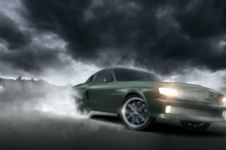 Ilustrasi muscle car yang digunakan dalam balap liar.