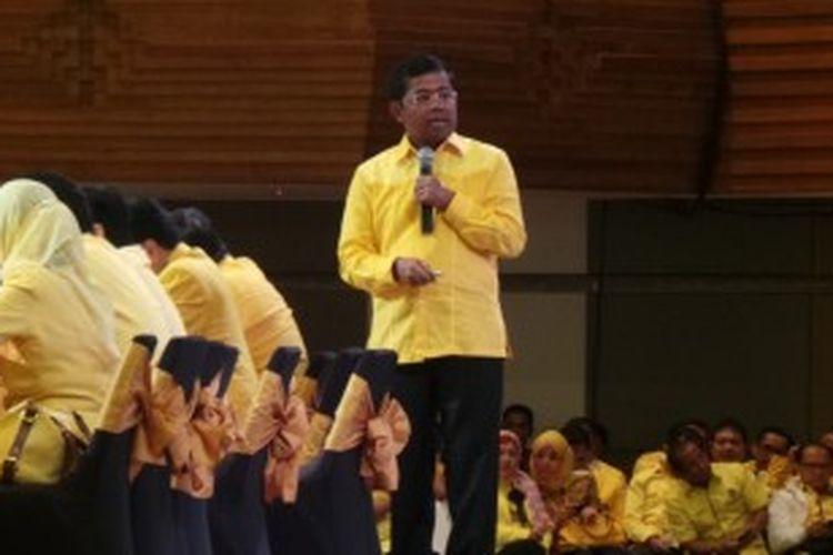 Sekretaris Jenderal DPP Partai Golkar Idrus Marham dalam pembekalan caleg dan pengukuhan Badan Koordinasi Pemenangan Pemilu (BKPP) di Bali, Sabtu (22/6/2013).