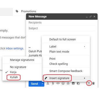 Cara beralih dari satu format tanda tangan ke format lainnya di Gmail.