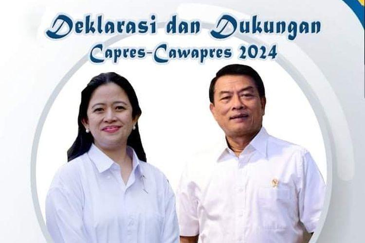 Poster deklarasi dan dukungan dengan foto Puan Maharani sebagai calon presiden dan Moeldoko sebagai calon wakil presiden 2024 yang beredar di media sosial, Jumat (19/3/2021).