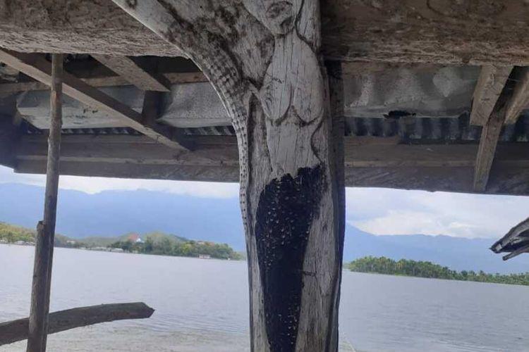 Ukiran putri duyung yang ditemukan di salah satu rumah di Kampung Donday, Distrik Waibu, Kabupaten Jayapura, Papua, Jumat (24/9/2020)