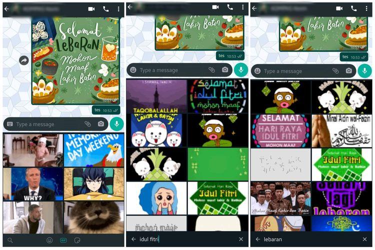 Kirim kartu lebaran lewat fitur GIF di Whatsapp.