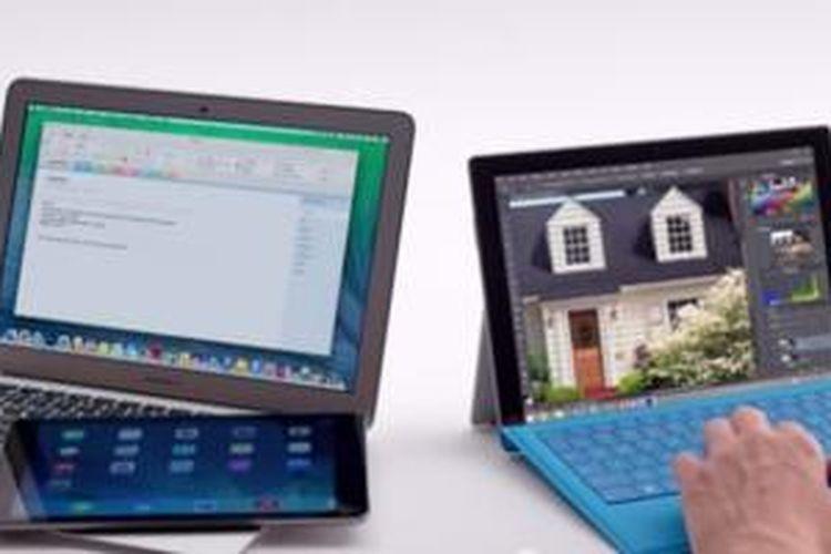 Potongan adegan iklan Surface Pro 3 yang mengejek MacBook Air