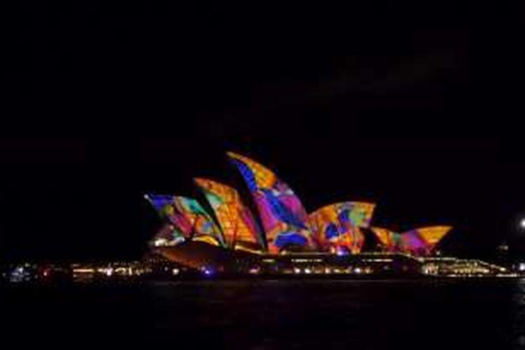 Vivid Sydney 2016 di Sydney, New South Wales, Australia.