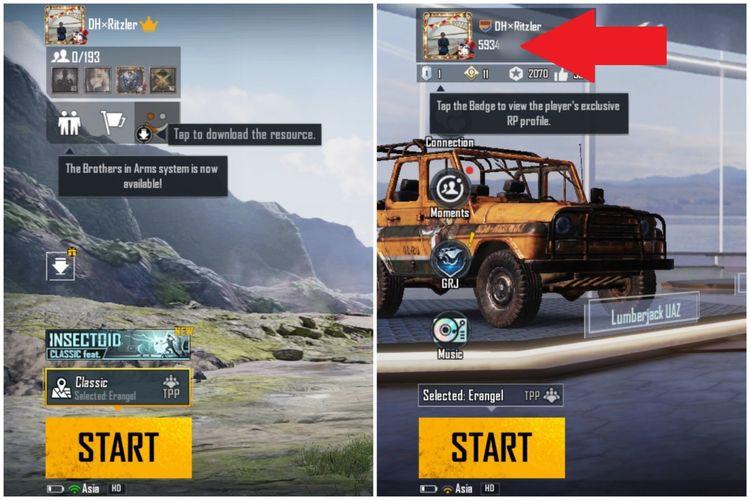 Cara melihat Character ID di profil PUBG Mobile.