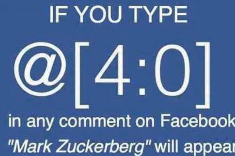 Kode yang akan memunculkan nama Mark Zuckerberg di kolom komentar Facebook.