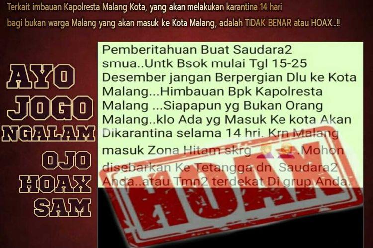 Jajaran Polresta Malang Kota mengidentifikasi bahwa pesan larangan ke Kota Malang akibat Covid-19 adalah hoaks.