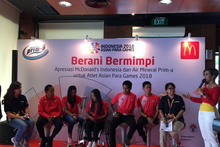 Para atlet renang Asian Para Games 2018 dalam acara Apresiasi Atlet Asian Para Games  2018 oleh McDonald's Indonesia di McD Sarinah Jakarta, Rabu (17/10/2018).