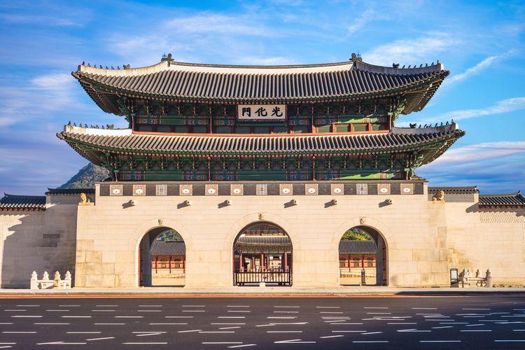 Gwanghwamun, gerbang utama Istana Gyeongbokgung di Korea Selatan.