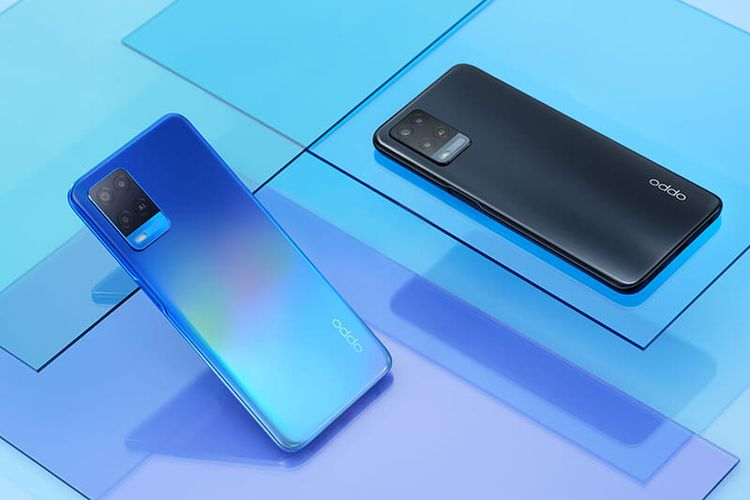 Ilustrasi Oppo A54 warna Starry Blue dan Crystal Black.
